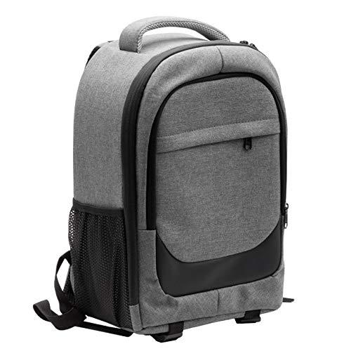 vhbw Kamera-Rucksack Canvas/weiches Innenfutter grau/schwarz passend für Nikon CoolPix B500, L840 Kamera, Digitalkamera, DSLR