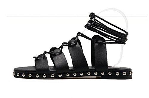 LDMB Damen Sommer-Runde Peep Toe Fuß Ring Straps Hollow Low-Flat Sandalen Black