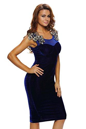 ILFtrend Abendkleid Cocktailkleid Spitze Blumen Midikleid Blau