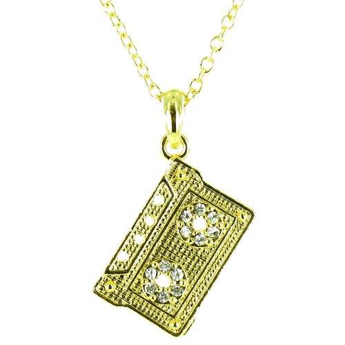 Cristal transparente en chapado en oro Mini música cinta Cassette collar