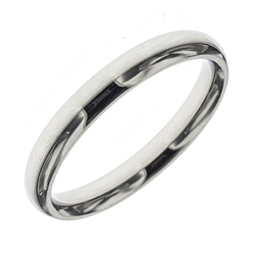 Anello in acciaio 316l fedina lucida fidanzamento anniversario lui/lei - 32