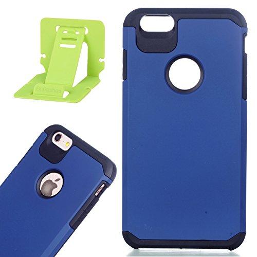Per iphone 6 plus/6S plus 5.5 pollici Custodia, Ekakashop di lusso Hybrid Heavy Duty antiurto morbido silicone Gel & Rigida PC 2-in-1 non Layer antiscivolo Anti-dirt Protezione Protettivo Cover Case p Blu
