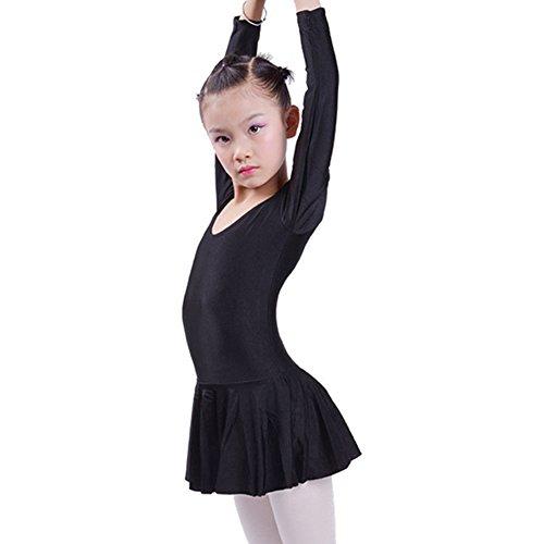 hibote kid's Ballett Latein Tanzkleid Spandex Langarm Praxis Kleidung schwarz XXXL