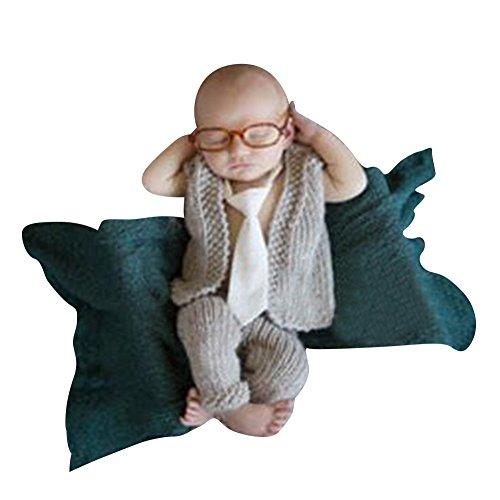 hibote Neugeborene Baby Kostüm Foto Fotografie Baby Junge Mädchen Kostüm Nette Stricken Handarbeit (Oberseiten + Hosen)