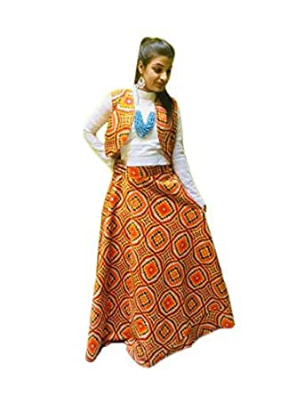 PJ's boutiues Women's Brocade Fabric Printed Long Skirt and Crop Top with Attached Jacket (Yellow and White, PJB-2, 32)