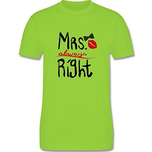Hochzeit - Mrs. always Right Pinsel - Herren Premium T-Shirt Hellgrün