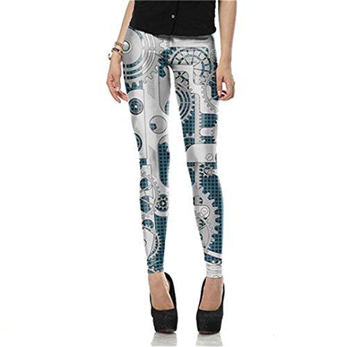 HaiDean Moda para Mujer Steampunk Mecánica Impresión Cintura Alta 3D Cosplay Modernas Casual Leggings Pantalones De Cintura Alta Pantalones De Lápiz (Color : Kdk1610, Size : S)