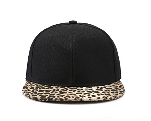 True Heads 2-Tone Plain Black and Leopard Print Snapback Baseball Cap