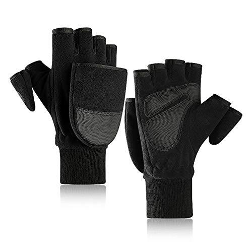 Winter Frauen Männer Polar Fleece Pu Leder Doppelschicht Verdicken Touchscreen Half Finger Flip Handschuhe Outdoor Aktivität Warm Wear - Schwarz, M