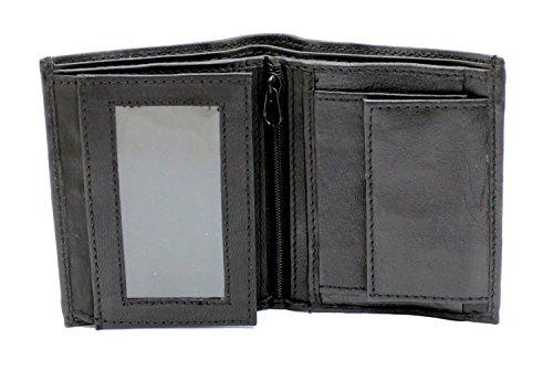 RAS® Herren-Qualität Luxus Weiches Leder Zweifache Brieftasche Kreditkarten-Taschen, ID-Karte Fenstertasche Und Münztasche #48 (Schwarz) (Handtasche Satchel Patchwork)