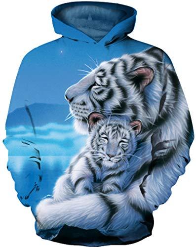 Ocean Plus Jungen Langarm Galaxis Kapuzenpullover Bunt Casual Sweatshirts Pullover mit Kapuzen Pulli für Kinder Hoodie (M (Körpergröße: 115-125cm), Weißer Tiger und weißes Tigerbaby)