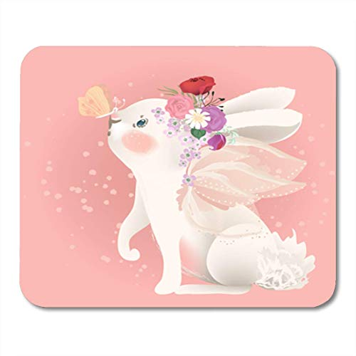 HOTNING Gaming Mauspads Gaming Mouse Pad Cute White Bunny with Fairy Wings Floral Flowers Bouquet Wreath 11.8
