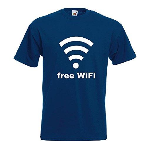 KIWISTAR - free WiFi T-Shirt in 15 verschiedenen Farben - Herren Funshirt bedruckt Design Sprüche Spruch Motive Oberteil Baumwolle Print Größe S M L XL XXL Navy