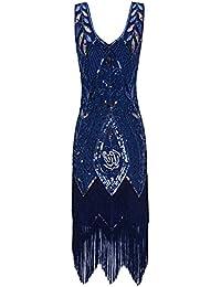 Metme Femmes années 1920 Vintage Flapper Fringe Perles Great Gatsby Party Robe