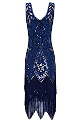 Metme Women's 1920s Vintage Flapper Fringe Beaded Great Gatsby Party Dress (S, Navy)