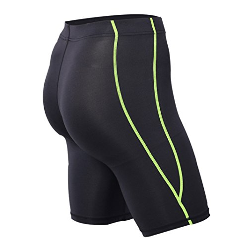 Kompression Kurz MeiC Power Elastische Compression Pants Base Layer Hose Schnell Trocknenden Sporthose Shorts für Herren Jogging Laufen Fitness Schwarz & Grün