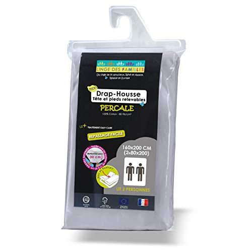 Linge des Familles - Drap Housse Coton Percale 2x80x200 cm - Spécial Lit Articulé TPR - Uni Ciment - Bonnet de 30 cm - Entretien Facile - Certifié Œko-Tex®