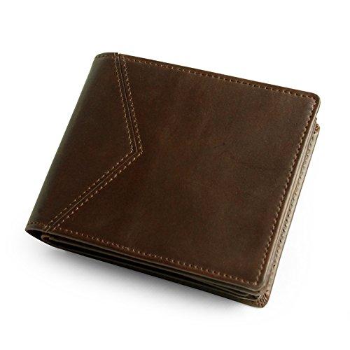 Lavievert Koruma - Portafoglio da uomo in vera pelle, da viaggio, con tasca centrale per documento di identità o schede