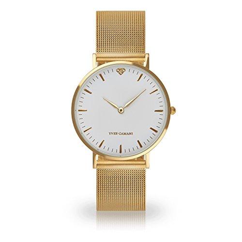Yves Camani de mujer reloj de pulsera Pure con dorado caja de acero inoxidable y esfera blanca. Elegante Reloj de mujer Cuarzo Con Malla Milanaise Dorado de pulsera