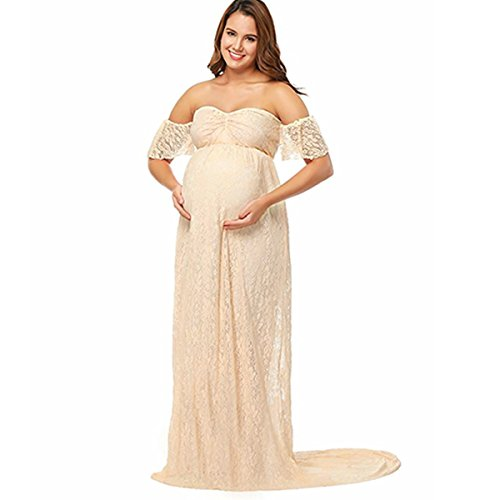Elegant Photography Maternity Wrap Dress Women Pregnants Dress Floral Lace Off Shoulder Ruffle Sleeve Maxi Trailing Long Dress for Photo Shoot Wedding Evening Party Gown Beige