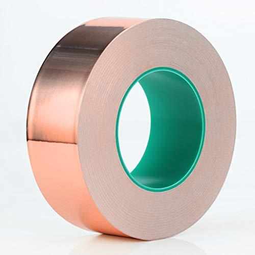 DONGXIN Doppelseitiges Kupferfolienband Doppelseitig leitendes Kupferfolien-Hochtemperatur-Leitgewebe Einseitige Signalverstärkungsabschirmung (Farbe : Messing, größe : 20mm Wide × 25m Long) (Doppelseitige, Hitzebeständige Klebeband)