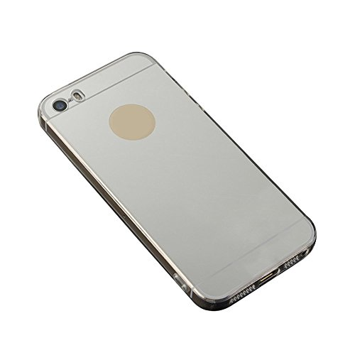 Skitic Luxe Mirror Arrière Coque pour iPhone 6 / 6S 4.7 inch, Fashion Creative Electroplate Plating Mirror Transparent Flexible Souple TPU Side Housse de Protection Coquille Protecteur Etui Case Cover Argent
