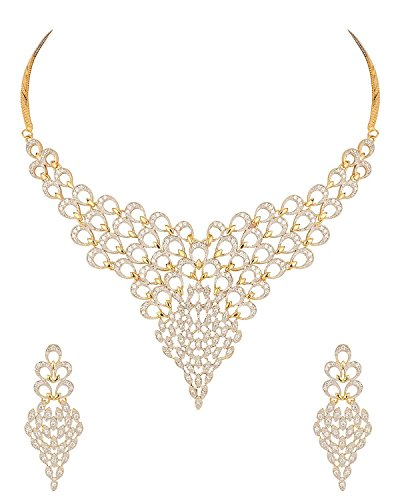 MGold Gold Plated Diamond Look Necklace Set Inspired By Peacock Plumage for Women