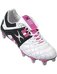 GILBERT Jinx VX1Lo Cut Soft Toe 8Stud Chaussures de Rugby [Blanc Rose]