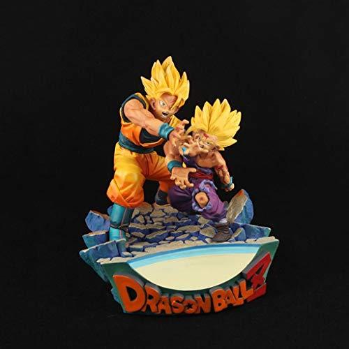 LJBOZ Dragon Ball Anime Estatua Súper Saiyan Goku Gohan Padre e Hijo Modelo de Juguete de Shockwave PVC Exquisito Anime Decoración Coleccionables -7.1in Estatua de Juguete
