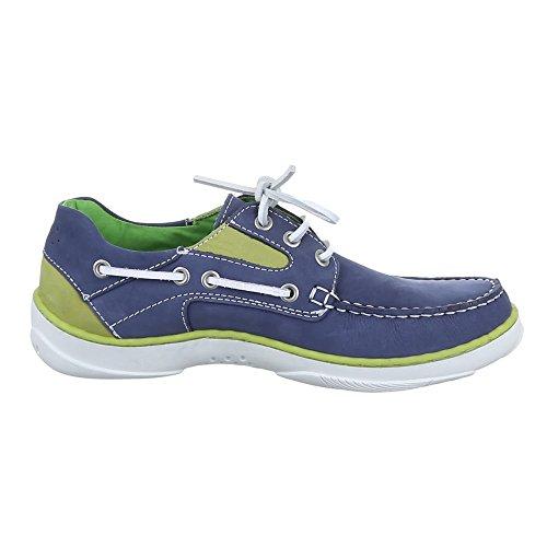 Herren Schuhe, 6560, HALBSCHUHE LEDER SCHNÜRSCHUHE Blau