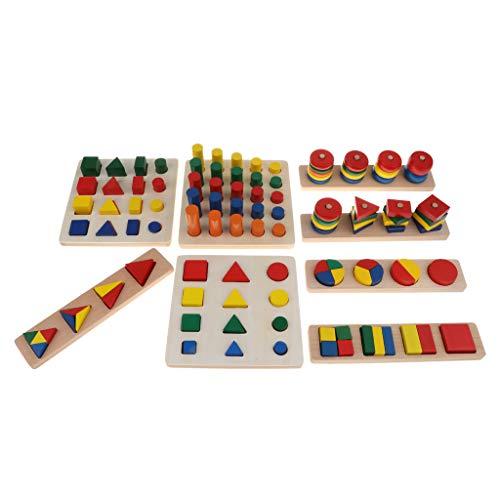 perfeclan Montessori Sensorial Material Box 8 Set Bloque geométrico Juego de Clasificación Educativos de Madera