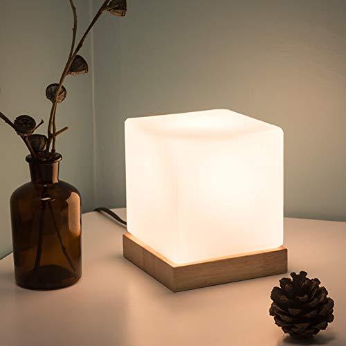 Xyfw Light Tischleuchte - Glass Cube Accent Lamp - Glasschirm Mit Naturholzsockel -