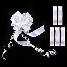 Hicarer 6 Piezas Lazos de Tirar Lazos de Boda Grandes Lazos de Coche Blanco Lazo de Embalaje Kit de Lazos de Cinta de Tirar para Decoración, 45 mm de Ancho