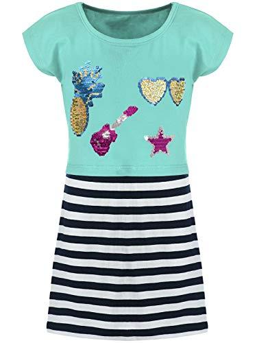 Kmisso Kinder Mädchen Kleider Spagetti Sommer-Kleid Top T-Shirt Rock (2 TLG. Set) 30025 Türkis 128 (Winter Kleider Mädchen)