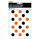 Unique Party Supplies Orange und Schwarz Polka Dot Halloween Taschen, 50 Stück