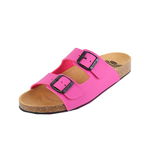 Scholl Spikey SS 6 Fuchsia Black Synthetic Nubuck Rosa