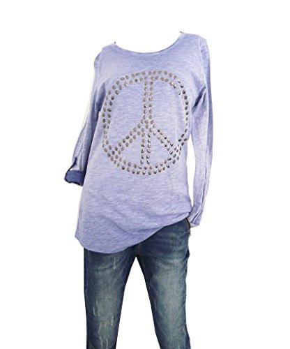 Damen Langarm Shirt mit Peace Zeichen aus Totenkopf Nieten jeansblau one size M L 38 40 42 (8093)