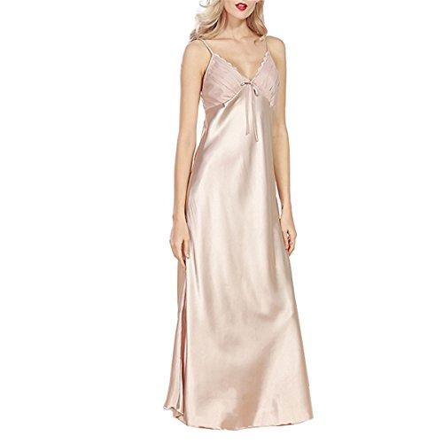 BigForest Damen Satin Silk Slip lang Negligee Pajama Schlafanzug Nachtkleid (Empire Nightgown)