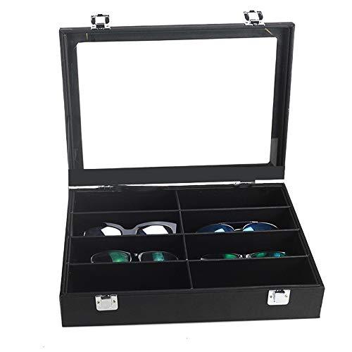 Wagsiyi Brillenfassungen Sonnenbrillen Vitrine Sunglass Eyewear Display Storage Case Tray Brillen-Organizer (Farbe : Schwarz) 8-slot-display-trays