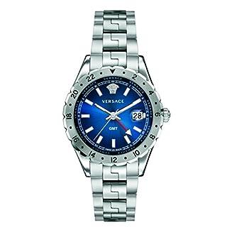 Versace V11010015 Herren Analog Quarz GMT Uhr mit Edelstahlarmband Blau Hellenyium