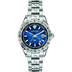 Versace Herren v11010015hellenyium GMT Analog Display Swiss Quartz Silber Uhr