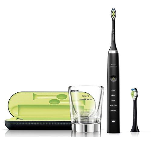 Philips Sonicare DiamondClean Elektrische Zahnbürste mit Schalltechnologie, Black Edition HX9352/04, 2 Watt, schwarz