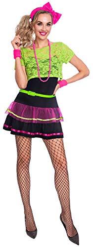 Fancy Me Damen 80er Jahre neonpink grün 1980er Jahre Dekade Junggesellinnenabschied Party Kostüm Outfit UK 8-18 - 1980er-jahre Grün