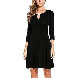 Zeagoo Damen Kleid 3/4 Ärmel Rundhals Falten Basic Casual Kleid Freizeitkleider Knielang Schwarz S