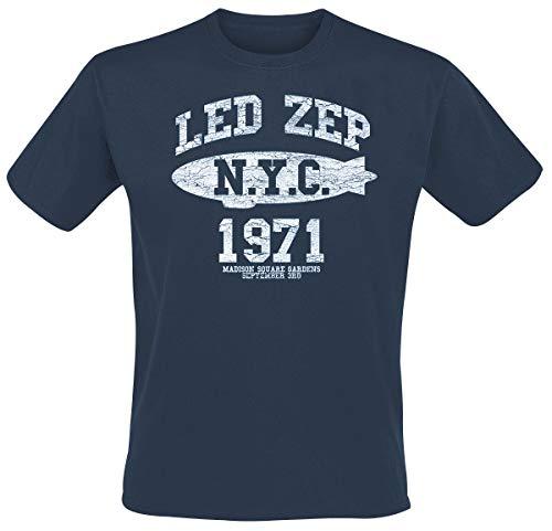 Led Zeppelin NYC 1971 Camiseta Azul XL