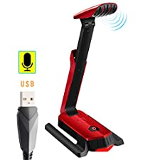 Beexcellent PC Microphone with 7.1 Virtual Sound Port for Gaming Skype Chat Meeting Podcast Recording video or audio on Youtube (RED)