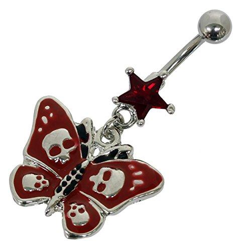 Pain-is-Art Bauchnabelpiercing Schmetterling & Totenkopf in rot aus Chirurgenstahl