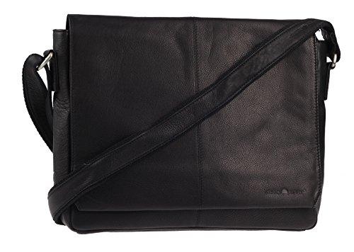 Greenburry Pure A4 Messenger Bag Tasche Leder 34 cm Laptopfach black