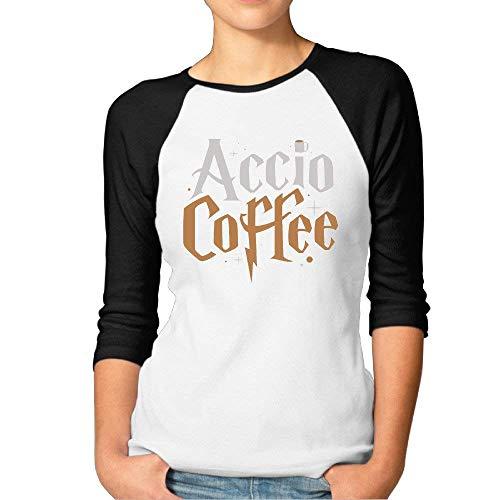 Accio Coffee Womens Funny Baseball 3/4 Sleeve T Shirt -