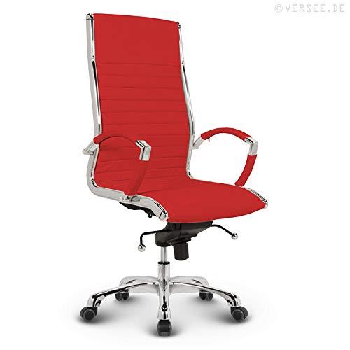 VERSEE Design Bürostuhl Chefsessel Montreal -- Echt-Leder -- rot -- Drehstuhl, Bürodrehstuhl, Schreibtischstuhl, Chefstuhl, Ergonomisch, hohe Rückenlehne, mit Armlehnen, auf Rollen, mit Polsterung, Höhenverstellbar, Wippfunktion, Designklassiker, hochwertige Verarbeitung, massives Metall-gestell, Chrom Büro Sessel, Stuhl, 150 kg belastbarkeit -